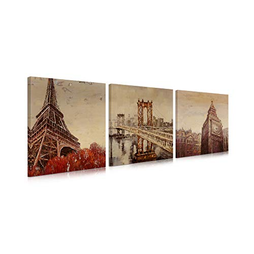 B BLINGBLING Paris Wall Art Bridge Wall-Art: Eiffel Tower Brooklyn Bridge and London Big Clock 3 Piece Wall Art for Living Room with Frame (16''x16''x3 Panels)