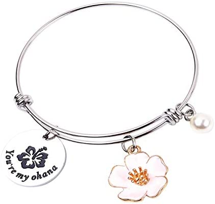 You are My Ohana Family Jewelry Hibiscus Flower Charm Bracelet Necklace Gift for Mother Aunt product image