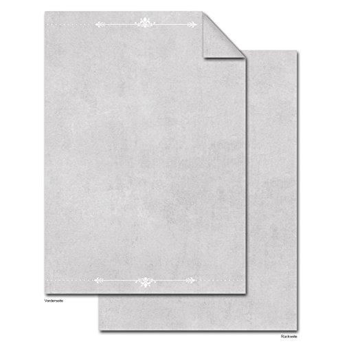 100 vellen briefpapier printerpapier grijs/witte ornamenten aan beide zijden bedrukt 100 g edel schrijfpapier motief-papier DIN A4 brievenboog gemarmerd vintage oud papier