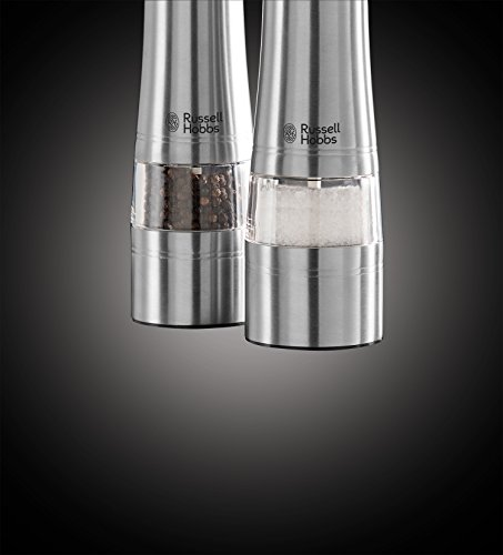 Russell Hobbs Battery Powered Salt and Pepper Grinders 23460-56 - Stainless Steel and Silver