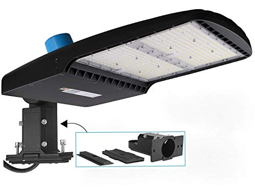dephen 300W LED Parking Lot Light with Photocell, UL-Listed 42000Lm 5700K Led Shoebox Pole Light ,1000W Metal Halide Eq.Outdoor Area Lighting - Dimmable - 10KV Surge - Arm & Slip Fit in One Mount.