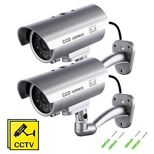 SeeKool Fausse Caméra de Vidéosurveillance, Surveillance Cameras factice exterieur/inteurieur avec LED clignotante ,Dummy Fausse CCTV Camera sécurité maison 2 Pack