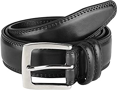 Mens Dress Belt ALL Genuine Leather Double Stitch Classic Design 35mm Black (34)