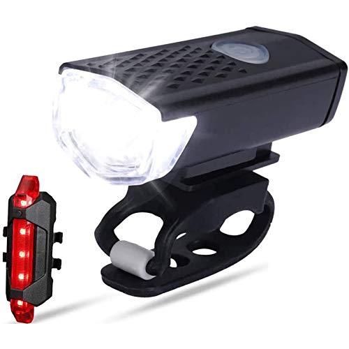 CLOUDH Luz Bicicleta Set, Luz Delantera LED Recargable USB y Luz Trasera, 3 Modos de Luz, Luces de Bicicleta de Carretera de MontañA Impermeables, InstalacióN RáPida, para Ciclismo Nocturno
