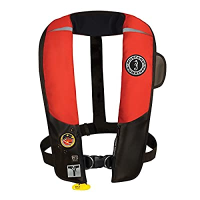Mustang Survival Corp Inflatable PFD with HIT (Auto Hydrostatic) with Harness, Red/Black
