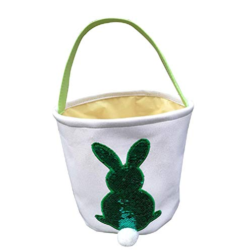 Jolly Jon Easter Bunny Basket Bag - Green to Silver Sequin Colors - Kids Easter Egg Hunt Baskets - Color Changing Reusable Party Bags - Rabbit with Cotton Tail Canvas Tote