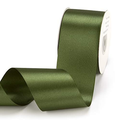 Filan Cinta de satén en musgo (50 mm x 22,86 m), cinta de regalo mate brillante, elegante cinta para decorar y manualidades, para envolver regalos especiales, bodas, bautizos, etc.