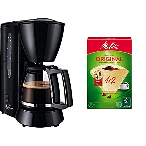 Melitta Cafetera de filtro con jarra de vidrio, Para 5 tazas de café, Single 5, Negro, M720-1/2 + 502001 Filtros de Café Desechables, Papel, Natural
