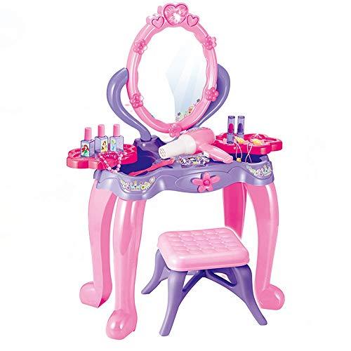 YBWEN Kids Play Outils Pretend Play Kids Vanity Table Et Chaise Beauty Mirror and Accesories Play Set avec Maquillage Accessoires pour Les Filles Jouer à Faire Semblant