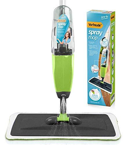 Vorfreude-Bodenwischer mit Zerstäuber und lebenslanger Garantie reinigt alle Böden. Nachfüllbare 700-ml-Flasche, Wiederverwendbare maschinenwaschbare Mikrofaserpads (Grün)