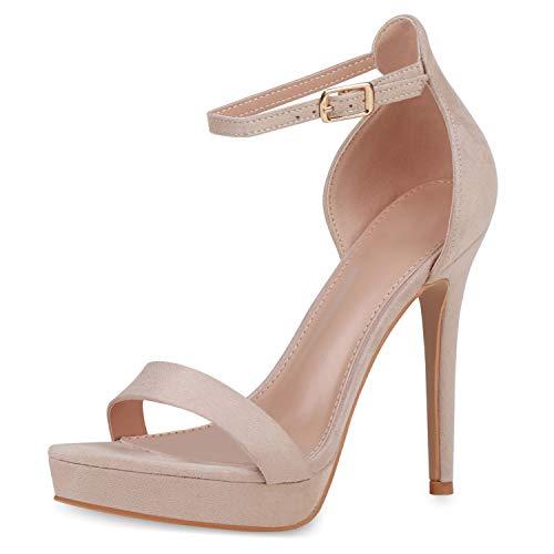SCARPE VITA Damen High Heels Plateau Sandaletten Stiletto Party Schuhe Wildleder-Optik Absatzschuhe Elegante Riemchen 190833 Creme 40