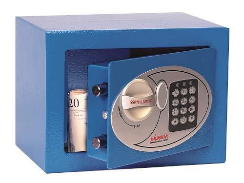 Phoenix SS0721EB Compact Home Office Minitresor Safe Möbeltresor, Blau HxBxT: 17 x 23 x 17 cm 3 kg