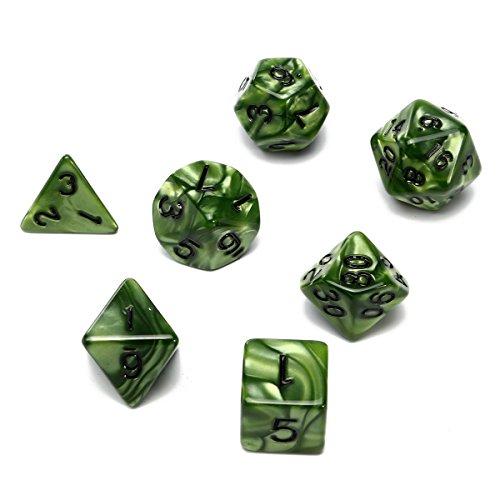 GOZAR 7 Stuk Polyhedral Dobbelstenen Set Meerdere Dobbelstenen Met Dobbelzak RPG Rol Spelletjes Dobbelstenen Groen