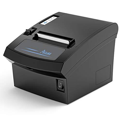 ACLAS Quittungsdrucker Thermodrucker 80mm Auto-Cut mit ESC/POS für registrierkasse kassenschublade (250mm/sec, USB + Ethernet Seriell Port)