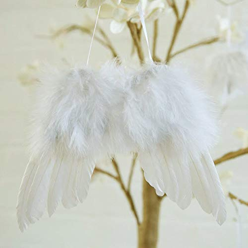 White Vintage Feather Hanging Angel Wings Christmas Tree Wedding Decorations