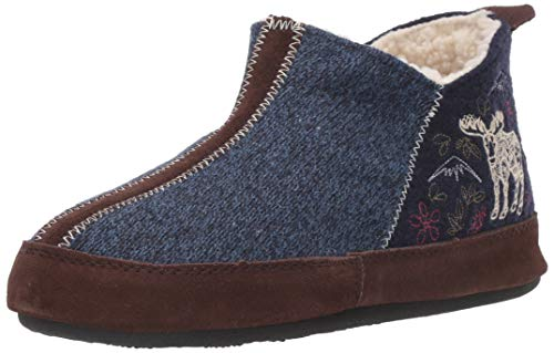 Acorn Women's Forest Bootie Slipper, Navy Blue Mouse, 8-9