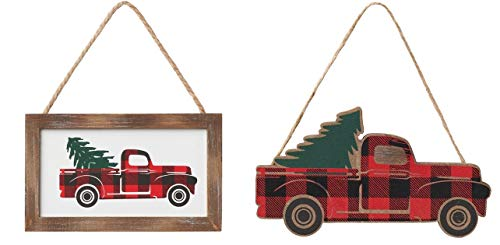 HAPPY DEALS ~ Set of 2 | Wood Buffalo Plaid Truck Ornaments | Farmhouse Red Truck Christmas Ornies | Made in USA