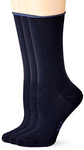Hue Women's 3 Pair Pack Jean Crew Socks, Navy, One Size