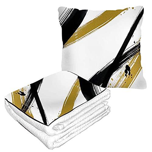 Strokes - Manta de viaje 2 en 1 de lino amarillo y negro, manta de avión para el hogar, sofá mullido de franela para oficina