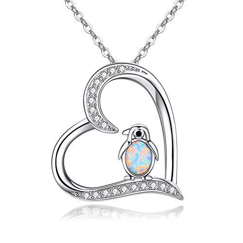 925 Sterling Silver Penguin Pendant Necklace Cute Animal Necklaces for Women Valentines Day Birthday Gifts for Her,Teens