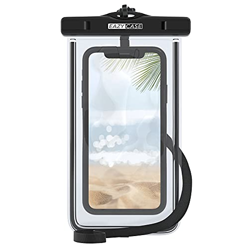 EAZY CASE wasserdichte Handytasche für Alle Smartphones bis 6 Zoll, schützt vor Staub, Sand, Schnee, Dreck, Wasser I Schutzhülle mit Umhängeband, IPX8 Zertifiziert, Transparent/Schwarz