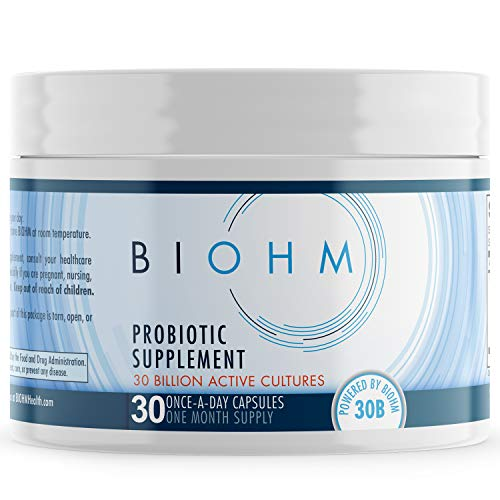BIOHM Dr. Formulated 30 Billion CFU Probiotic, Probiotics for Women & Men, Organic Probiotic Supplement with Digestive Enzymes for Immune Health, Shelf Stable, Non-GMO, Vegetarian, 30 Count