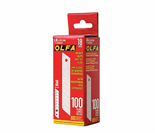 OLFA 1123433 Lb/CP-100 18mm Snap-Off Blade (100 Pack)