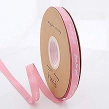 """DDDCM 10mm""""handgemaakte"""" gedrukt polyester lint met letter gedrukt lint for gift verpakking (Kleur : Just 10mm bean pink, ..."""
