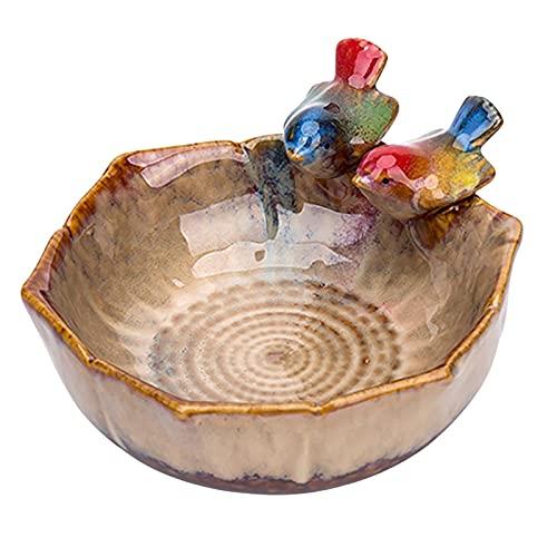 Rubeyul Vogeltränke mit Zwei Kleinen Vögelchen, Vogelbad Vogelbecken Futterschale, aus Keramik, Vogelbecken Shabby Chic Versch, Gartendeko, Geschenk, (16x16x8cm)