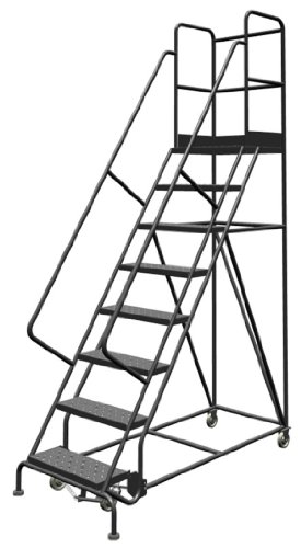 Tri-Arc KDSR108246-D2 8-Step 20' Deep Top Steel Rolling Industrial & Warehouse Ladder with Handrails, 24' Wide Perforated Tread