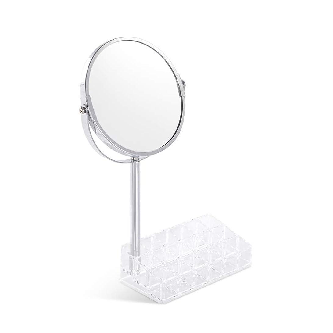 DNSJB バニティミラーダブルストレージボックス、メーキャップミラー拡大鏡美容ミラー/ 360度回転
