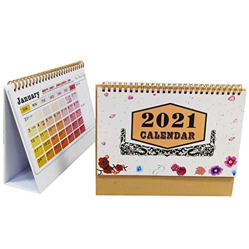 KLOVA Calendario de Escritorio, Calendario de Escritorio de Flores 2021, Bobina en inglés, planificador mensual Diario, Calendario, Organizador de Agenda Anual, patrón D