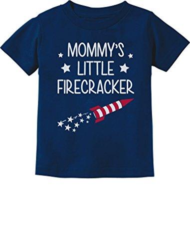Mommy's Little Firecracker Cute 4th of July Toddler Infant Kids T-Shirt 2T Navy