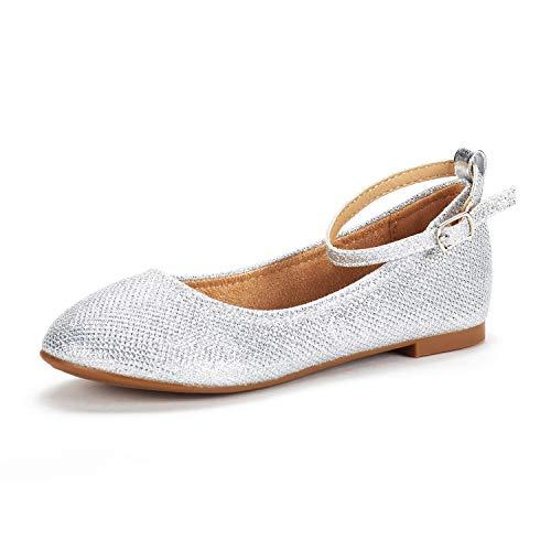 DREAM PAIRS Mädchen Knöchelriemen Ballerina Flache Schuhe Silber Größe 4 M US Big Kid / 36 EU