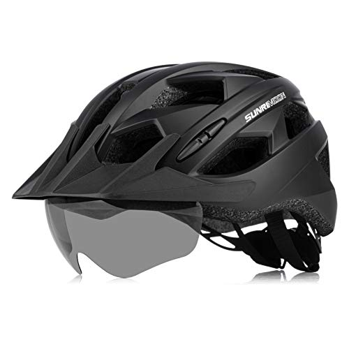 Bike Helmet for Men Women with Rechargeable USB Light, Adjustable Size Detachable Visor Magnetic Goggles Mountain & Road Bicycle Helmets, 22.44-24.41 Inches - Matte Black
