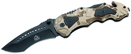 Puma TEC Messer Einhand-Rettungsmesser Glasbrecher Länge geöffnet: 21.5cm, grau, Einheitsgröße
