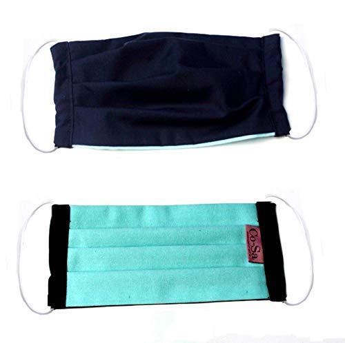 (Behelfs) Mundschutz Baumwolle, dkl.blau-mint, Gummiband: weiß, waschbar bei 60 °, Handmade in Germany