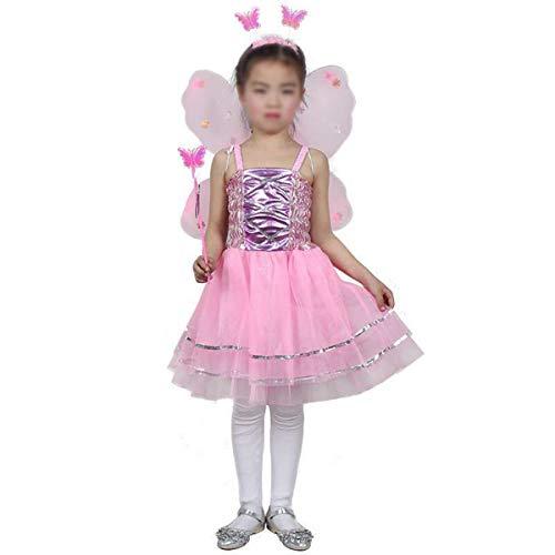 Amosfun Cuatro Delantales para niños,Bonitas Mariposas,alas deángel,Calzones de Hadas,Ropa de Baile para niños.