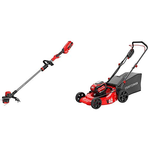 Fantastic Deal! CRAFTSMAN CMCMW260P1 V60 21 3-in-1 Lawn Mower with CMCST960E1 V60 Brushless WEEDWAC...