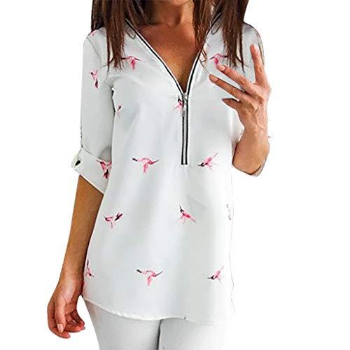 GOKOMO Frauen-Damen Plus Größen-Druck-Spitze-langes Hülsen-Oansatz Pullover übersteigt Hemd Langärmliges Damen-Top mit V-Ausschnitt und Reißverschluss(Weiß,XX-Large)