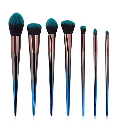 JFFFFWI Pinceau de Maquillage Cosmetic Set Brush 7 Rhombic Cosmetic Sets Brush Blue and Black Gradient