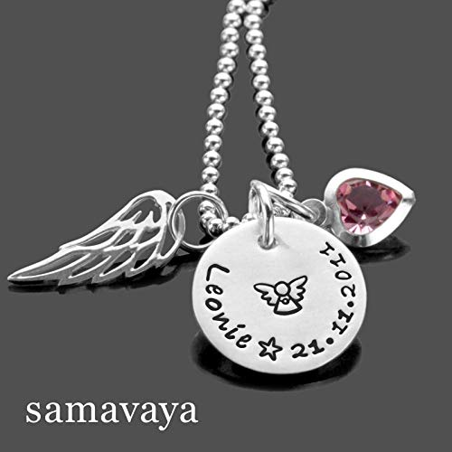 Taufkette Engelsflügel mit Gravur Taufgeschenk ENGELSGLEICH 925 Silberkette Taufschmuck Gravur Engel Kristallherz
