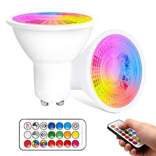 VARICART GU10 6W Bombilla LED, RGB + Blanco Cálido 3000K, Regulable 12 Cambios Color + 5 Modos, Memoria Integrada con Mando, 35W~50W Focos Para Iluminación Diaria y Ambiental (Paquete de 2)