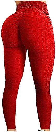 Tik Tok Leggings for Women,Women's Bubble Hip Butt Lifting Yoga Pants Anti Cellulite Legging Fitness High Waist Workout Tummy Control Yoga Tights 3XL Red