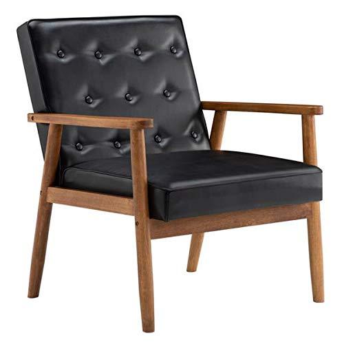 Sillón retro moderno de piel sintética sofá de lectura con respaldo de madera de un solo asiento para balcón, salón, dormitorio, oficina (75 x 69 x 84 cm), color negro