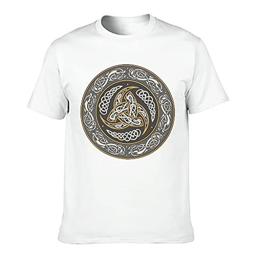 T-HGeschäft Camiseta larga para hombre, diseño vikingo Odin con dragón celta y nudos blanco XXL