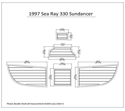 1997 Sea Ray 330 Sundancer Swim Platform Pad 1/4' 6mm Boat EVA Teak Decking (Dark Brown with Black Lines)