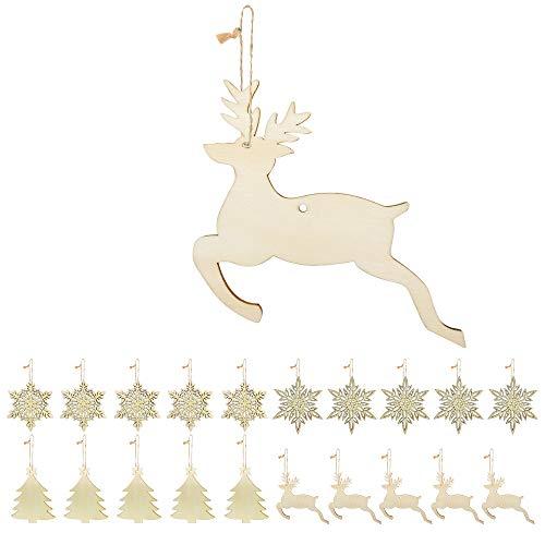 Weihnachtsbaumanhänger,Koqit 20 Stück Holz-Anhänger Schneeflocken baumschmuck Holz Weihnachts-Anhänger Hängeornamente Weihnachtsanhänger Verzierung Holzscheiben DIY,Dekohänger für Weihnachten
