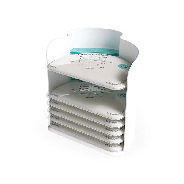 nanobebe 25 Breastmilk Storage Bags & Organizer – Fast, Even Thawing & Warming Breastmilk Bags, Save Space & Track Pumping – Freezer & Fridge Breastfeeding Supplies