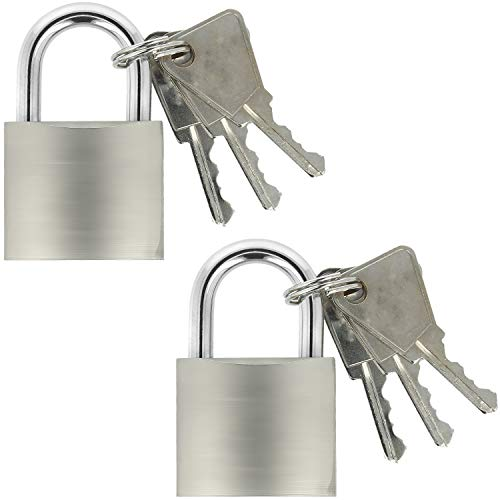 COM-FOUR® 2x hangslot van massief metaal - hangslot met geharde sluiting en 3 sleutels (02 stuks - 37 mm)